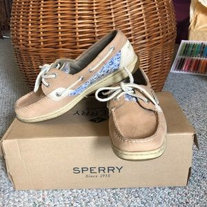 Sperry tan leather blue sequins size 8.5 TTS